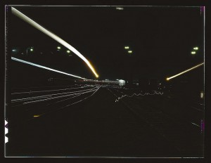 Santa Fe Railroad Yard Light Painting by Photographer Jack Delano